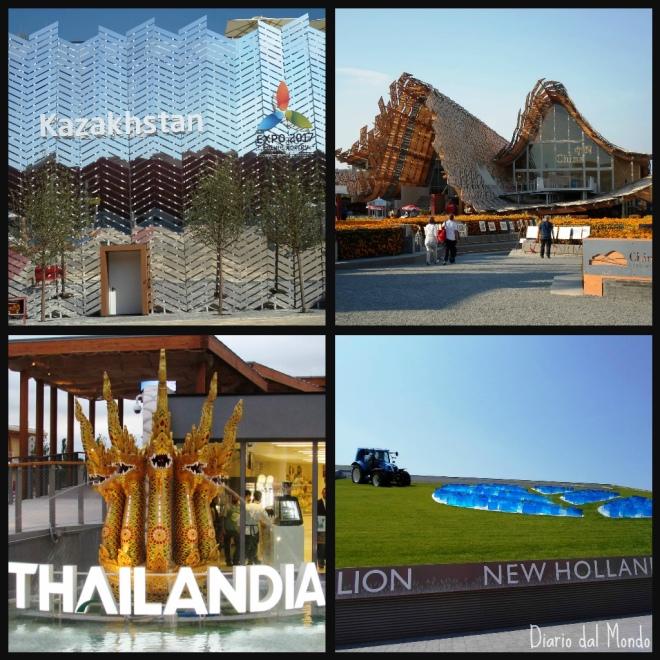 Padiglioni Kazakhstan, Cina, Tailandia e New Holland